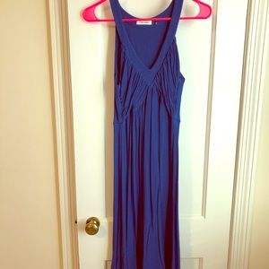 Blue cotton empire waist dress with pleating